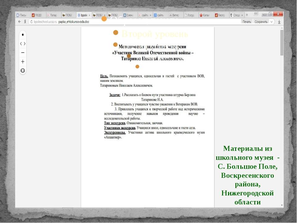 Материалы из школьного музея - С. Большое Поле, Воскресенского района, Нижего...