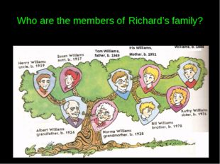 Who are the members of Richard's family? Tom Williams, father, b. 1949 Iris W