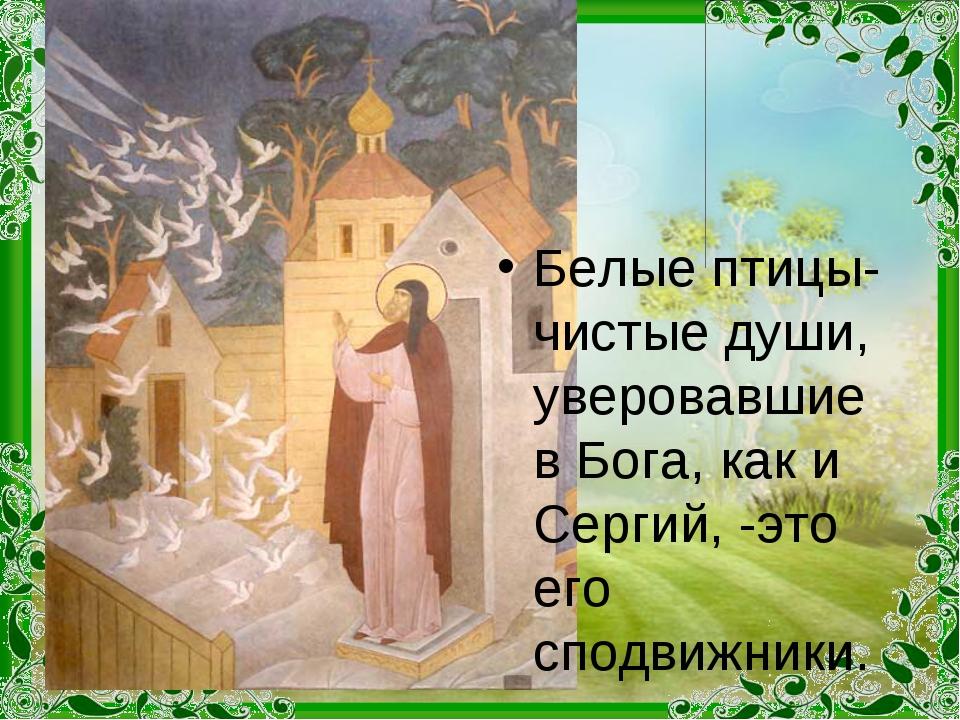 Белые птицы- чистые души, уверовавшие в Бога, как и Сергий, -это его сподвижн...
