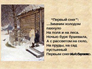 """""""Первый снег"""": …Зимним холодом пахнуло На поля и на леса. Ночью буря бушевал"""