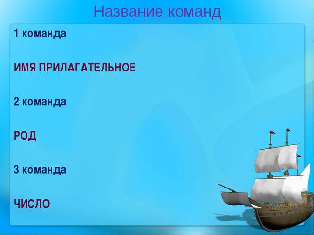 Название команд 1 команда ИМЯ ПРИЛАГАТЕЛЬНОЕ 2 команда РОД 3 команда ЧИСЛО