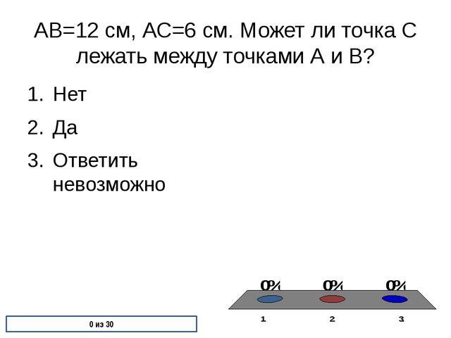 АВ=12 см, АС=6 см. Может ли точка С лежать между точками А и В? Нет Да Ответи...