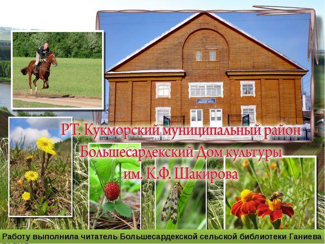 Работу выполнила читатель Большесардекской сельской библиотеки Ганиева ГАЛИЯ