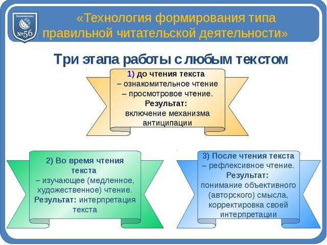 «Технология формирования типа правильной читательской деятельности»  Три эт...