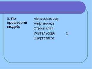 3. По профессии людей:Мелиораторов Нефтяников Строителей Учительская Энерге