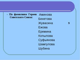 - По фамилиям Героев Советского Союза: Аминова Бекетова Жувасина Ежова Ереми
