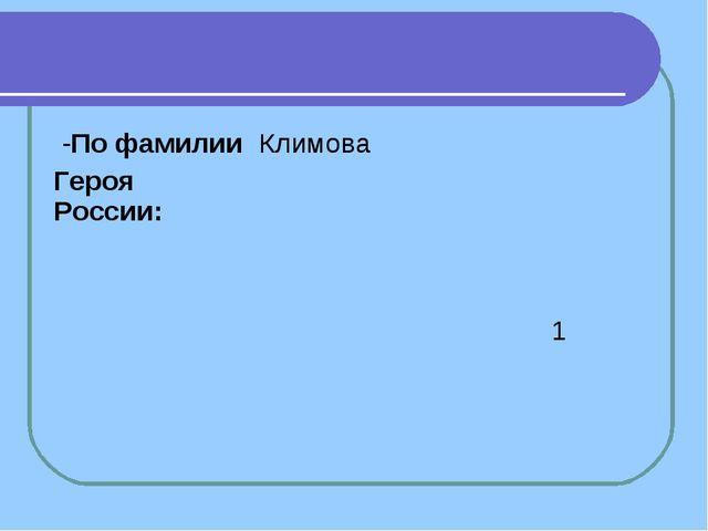 -По фамилии Героя России:Климова 1