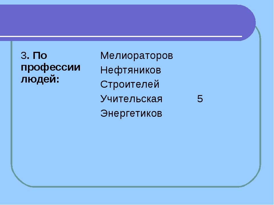 3. По профессии людей:Мелиораторов Нефтяников Строителей Учительская Энерге...