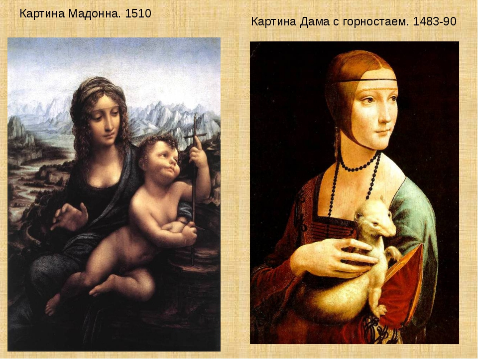 Картина Мадонна. 1510 Картина Дама с горностаем. 1483-90