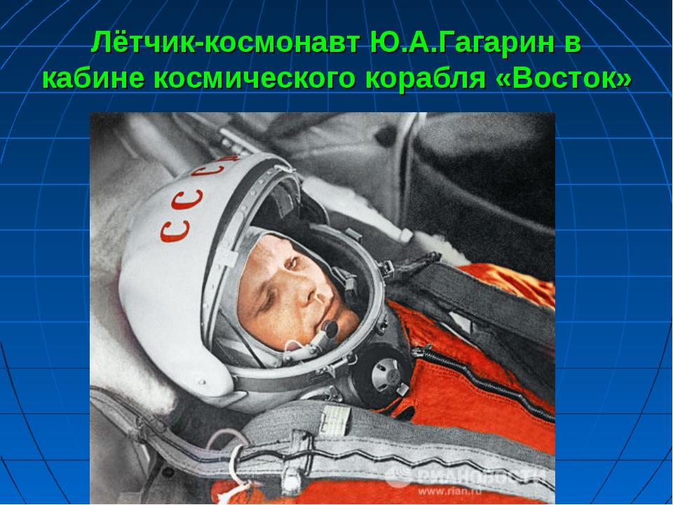 Лётчик-космонавт Ю.А.Гагарин в кабине космического корабля «Восток»