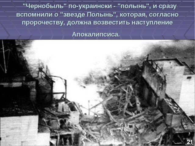 """""""Чернобыль"""" по-украински - """"полынь"""", и сразу вспомнили о """"звезде Полынь"""", к..."""