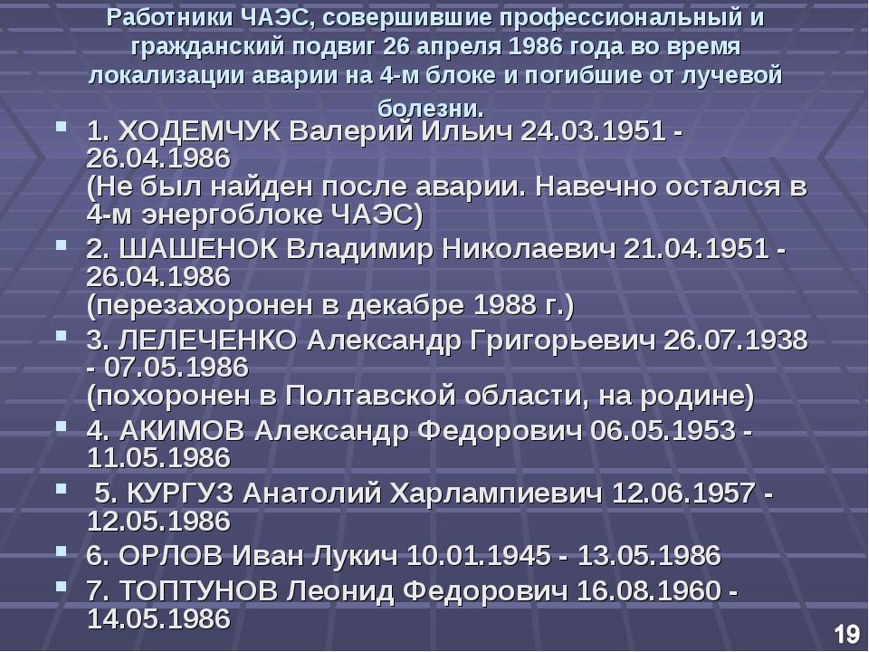 Работники ЧАЭС, совершившие профессиональный и гражданский подвиг 26 апреля 1...