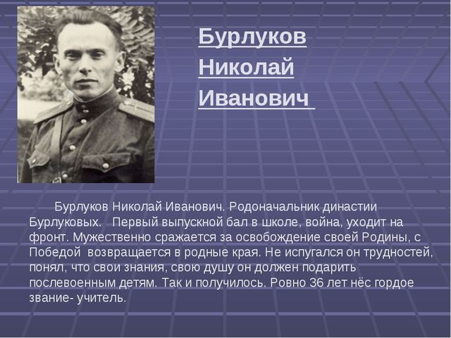 Бурлуков Николай Иванович  Бурлуков Николай Иванович. Родоначальник дина...