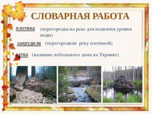 плотина СЛОВАРНАЯ РАБОТА (перегородка на реке для поднятия уровня воды) запру