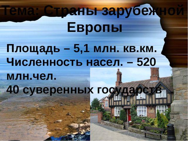 Тема: Страны зарубежной Европы Площадь – 5,1 млн. кв.км. Численность насел. –...
