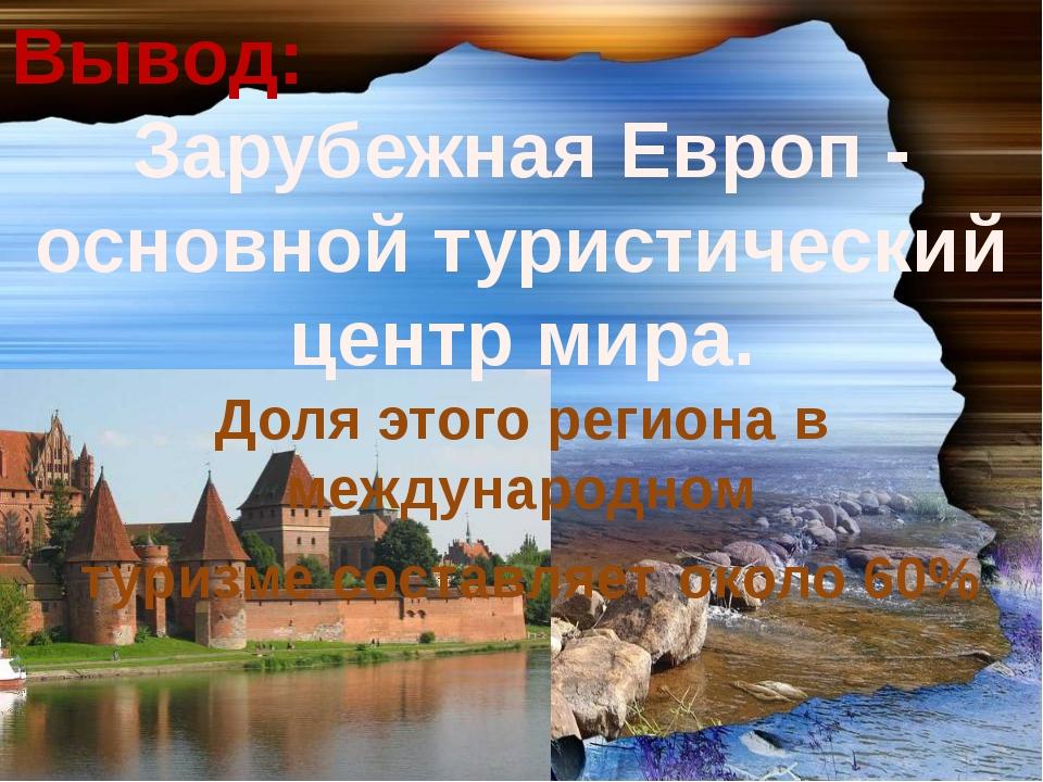 Вывод: Зарубежная Европ - основной туристический центр мира. Доля этого регио...