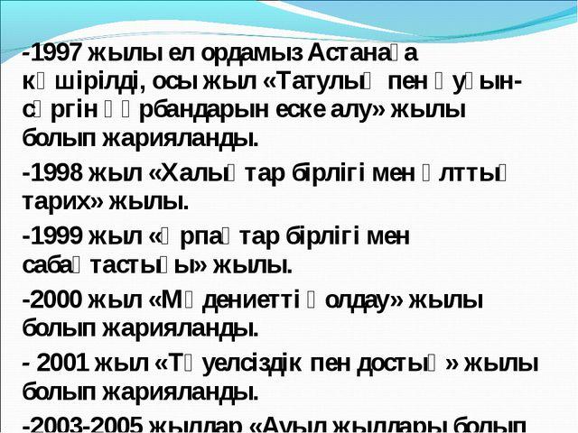 -1997 жылы ел ордамыз Астанаға көшірілді, осы жыл «Татулық пен қуғын-сүргін қ...