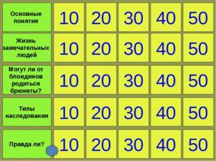 10 Правда ли? 20 30 40 50 Основные понятия Жизнь замечательных людей Могут ли
