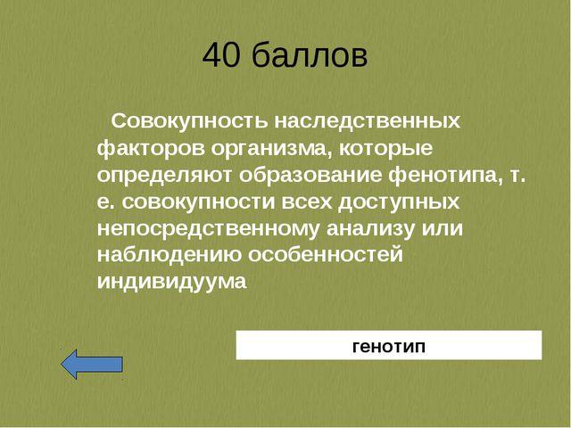 40 баллов Совокупность наследственных факторов организма, которые определяют...