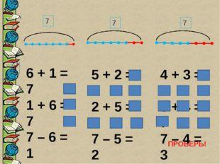 1 7 7 7 ПРОВЕРЬ! 6 + 1 = 7 1 + 6 = 7 7 – 6 = 1 7 – 1 = 6 5 + 2 = 7 2 + 5 = 7