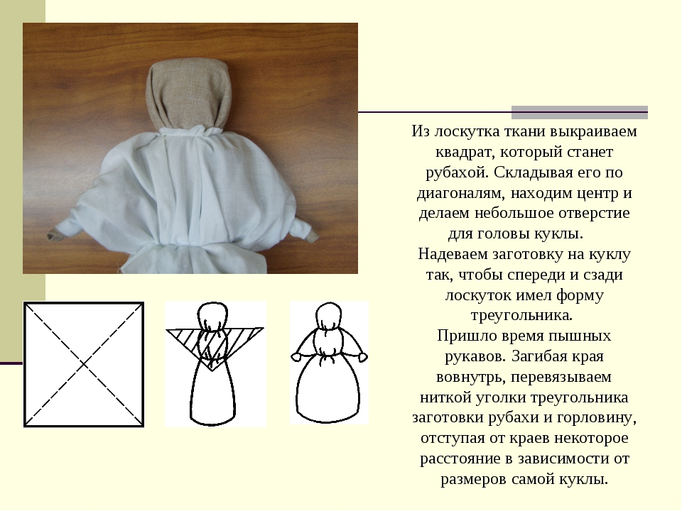 Из лоскутка ткани выкраиваем квадрат, который станет рубахой. Складывая его...
