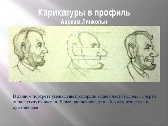 Карикатуры в профиль Авраам Линкольн В данном портрете уменьшены пропорции за...