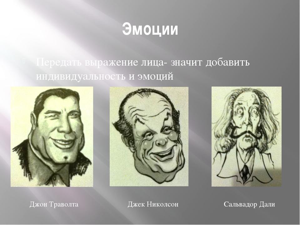 Эмоции Передать выражение лица- значит добавить индивидуальность и эмоций Джо...