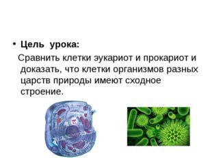 Цель урока: Сравнить клетки эукариот и прокариот и доказать, что клетки орган