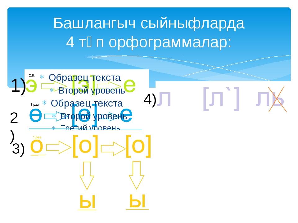 Башлангыч сыйныфларда 4 төп орфограммалар: 1) 2) 3) 4)