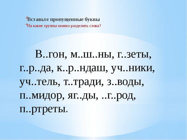 В..гон, м..ш..ны, г..зеты, г..р..да, к..р..ндаш, уч..ники, уч..тель, т..трад...