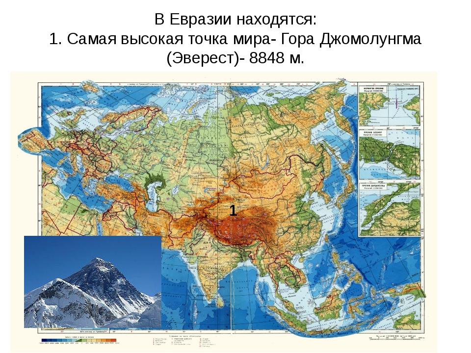 В Евразии находятся: 1. Самая высокая точка мира- Гора Джомолунгма (Эверест)-...