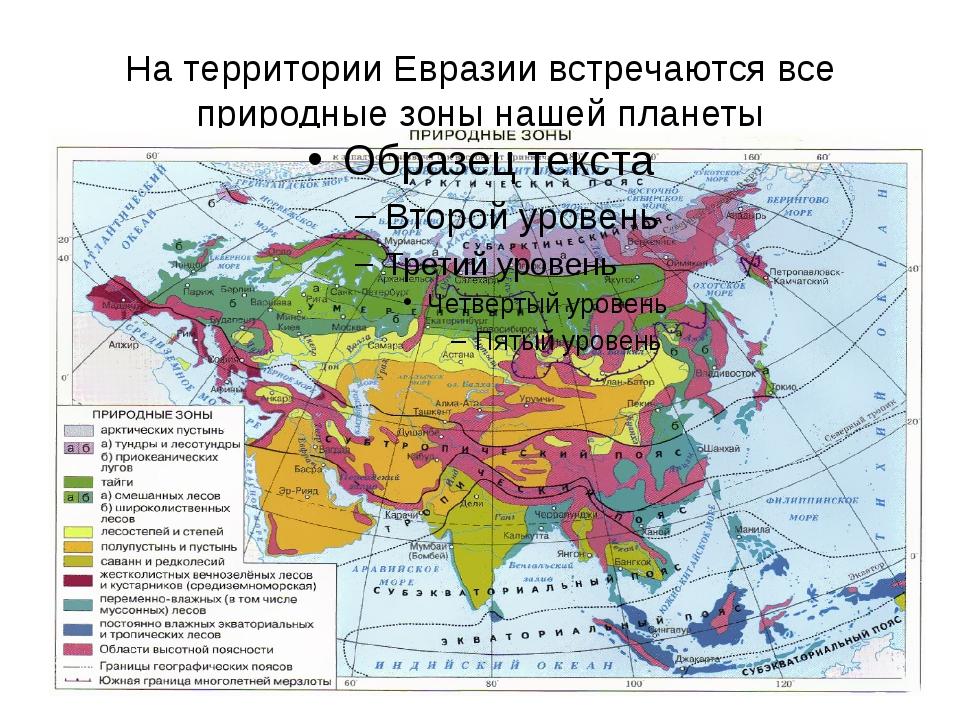 На территории Евразии встречаются все природные зоны нашей планеты