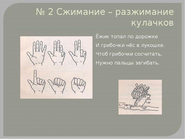 № 2 Сжимание – разжимание кулачков Ёжик топал по дорожке И грибочки нёс в лук...