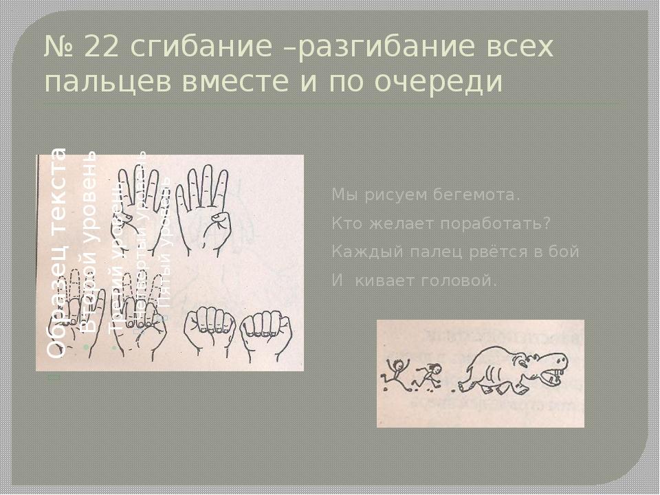 № 22 сгибание –разгибание всех пальцев вместе и по очереди Мы рисуем бегемота...