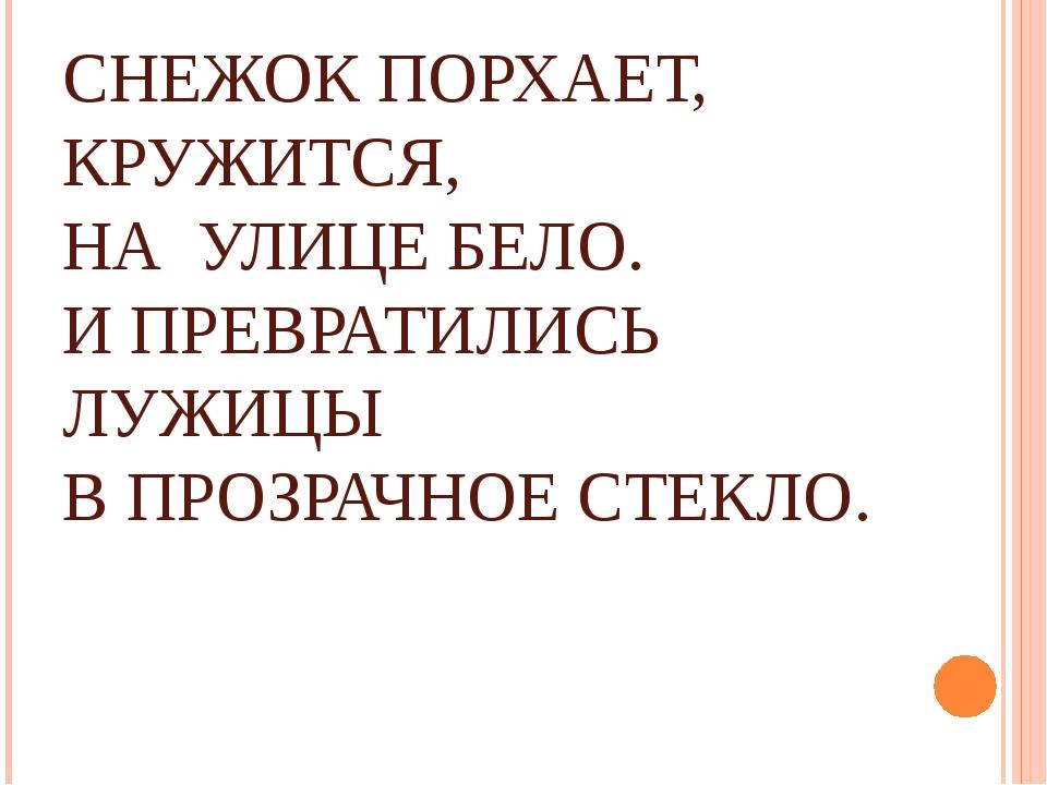 СНЕЖОК ПОРХАЕТ, КРУЖИТСЯ, НА УЛИЦЕ БЕЛО. И ПРЕВРАТИЛИСЬ ЛУЖИЦЫ В ПРОЗРАЧНОЕ С...