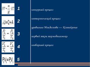 1 2 3 4 5 изохорный процесс изотермический процесс уравнение Менделеева — Кла