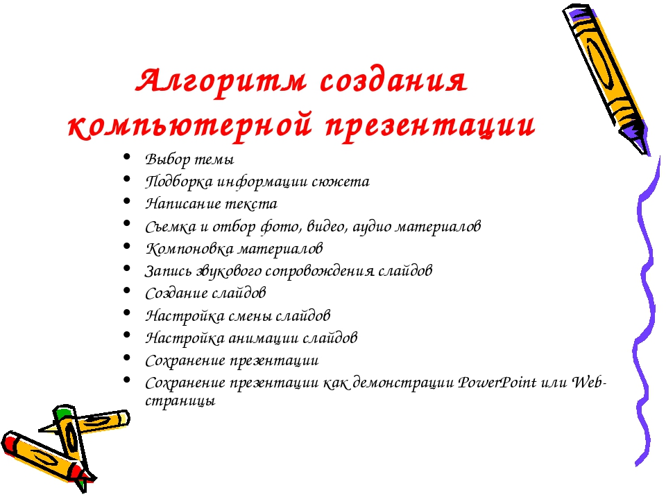 Алгоритм создания компьютерной презентации Выбор темы Подборка информации сюж...