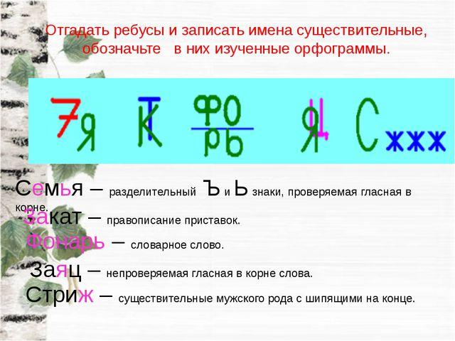 Отгадать ребусы и записать имена существительные, обозначьте в них изученные...