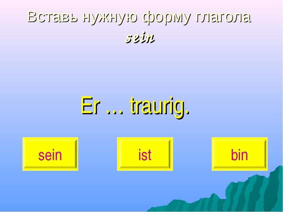 Вставь нужную форму глагола sein Er … traurig. sein ist bin