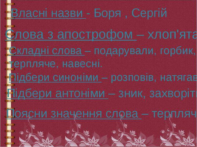 Власні назви - Боря , Сергій Слова з апострофом – хлоп'ята. Складні слова – п...