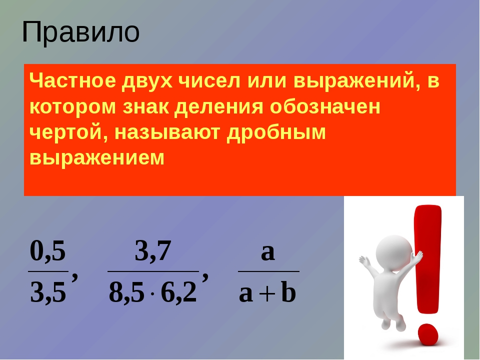Правило Частное двух чисел или выражений, в котором знак деления обозначен че...