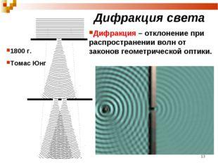 Дифракция света 1800 г. Томас Юнг Дифракция – отклонение при распространении