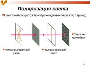 Поляризация света Свет поляризуется при прохождении через поляроид. Неполяриз
