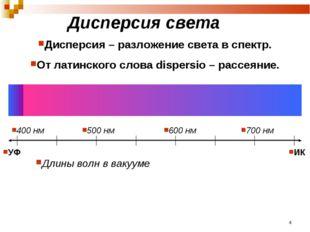Дисперсия света Дисперсия – разложение света в спектр. От латинского слова di