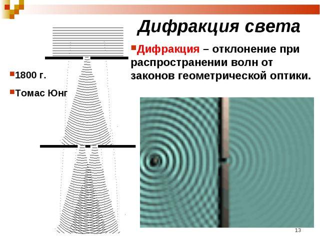 Дифракция света 1800 г. Томас Юнг Дифракция – отклонение при распространении...