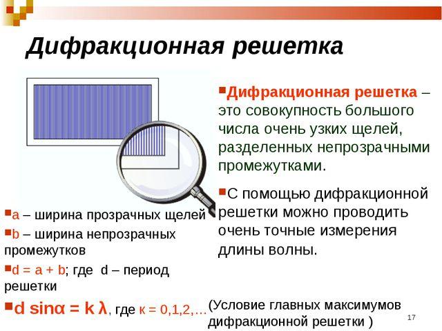 Дифракционная решетка * Дифракционная решетка – это совокупность большого чис...