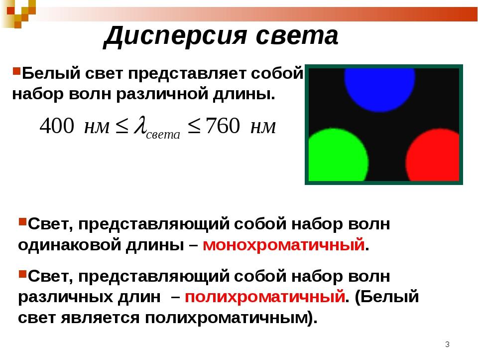 Дисперсия света Белый свет представляет собой набор волн различной длины. Све...