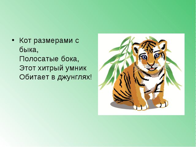Кот размерами с быка, Полосатые бока, Этот хитрый умник Обитает в джунглях!