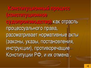 Конституционный процесс (конституционное судопроизводство) как отрасль проце