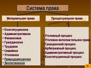 Система права Материальное право Процессуальное право Конституционное Админис